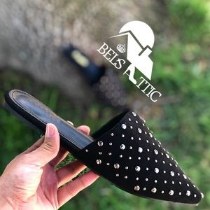 Shoes - Black Vegan Suede Pointed Toe Studded Mule Flats